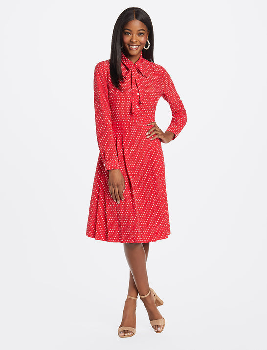 Tie Neck Shirtdress