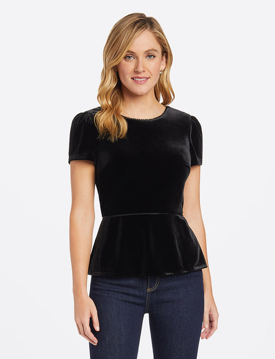 Velvet V-Back Peplum Top