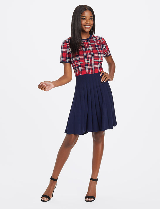 Holiday Plaid Sweater Dress