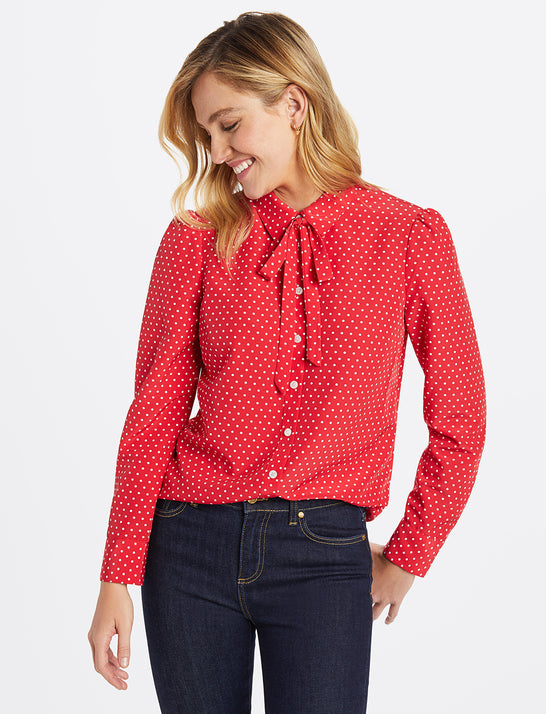 Printed Tie Neck Button Down Blouse