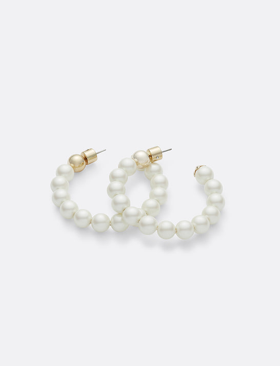 Pearl Hoops with Magnolia Cap