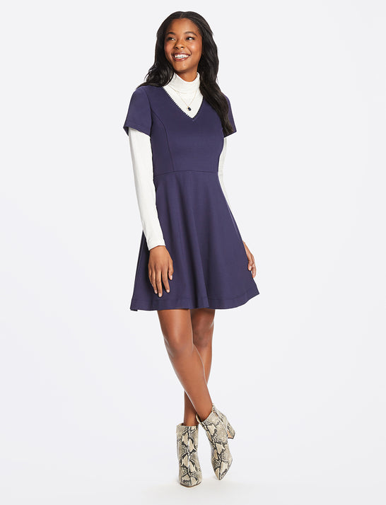 Ponte V-Neck Love Circle Dress