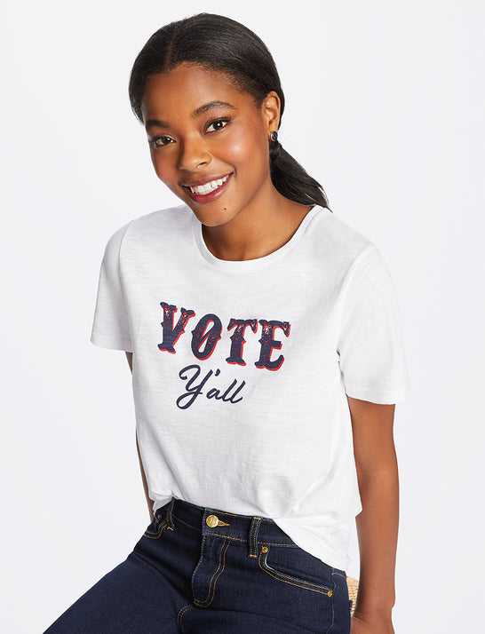 Vote Y'All Crewneck Slub Tee