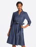 Chambray Puff Sleeve Button Front Dress