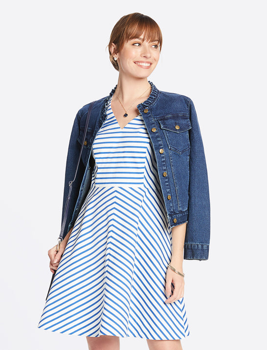 Sailor Stripe V-Neck Sleeveless Love Circle Dress