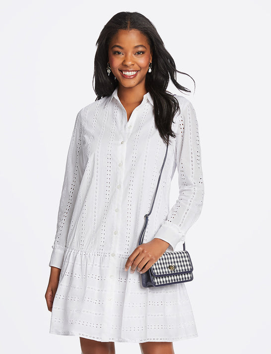 Striped Eyelet Flounce Shirtdress