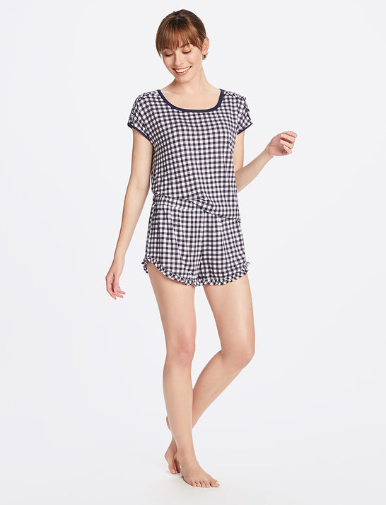 Gingham Top and Ruffle Hem Shorts