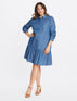 Chambray Button Down Flounce Dress