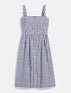 Gingham Button Front Apron Dress
