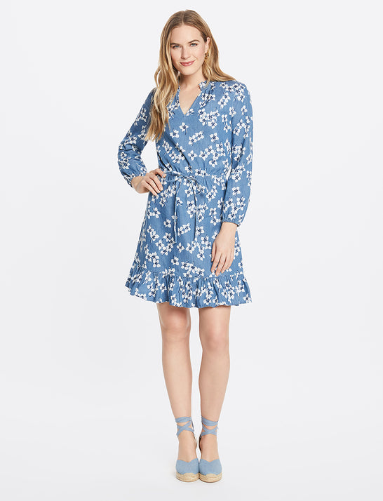 Lucinda Popover Dress in Floral Chambray