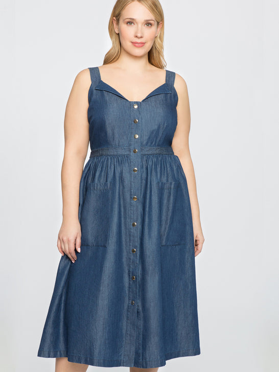 Draper James for ELOQUII Button Front Chambray Dress