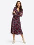 Faux Wrap Dress in Paisley