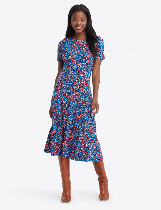 Tammy Midi T-Shirt Dress in Spring Ditsy Floral