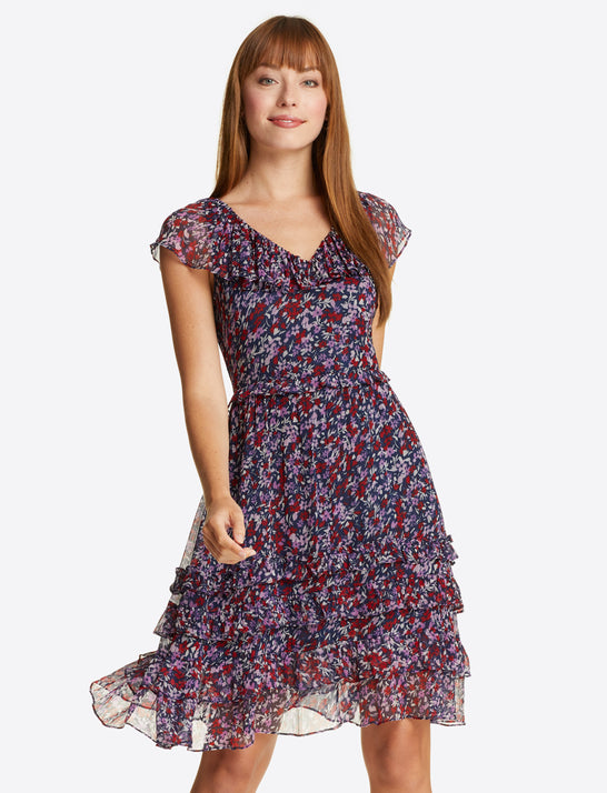 Fit & Flare Dress in Wispy Floral