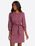 Belted Shift Dress in Berry Stripe