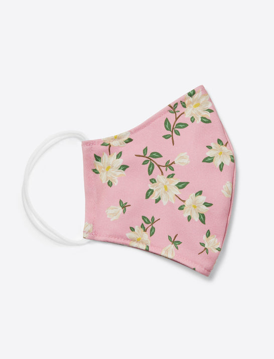 Magnolia Floral Face Mask in Light Pink