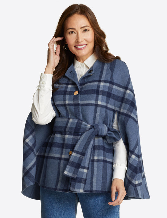 Reversible Cape in Buffalo Plaid