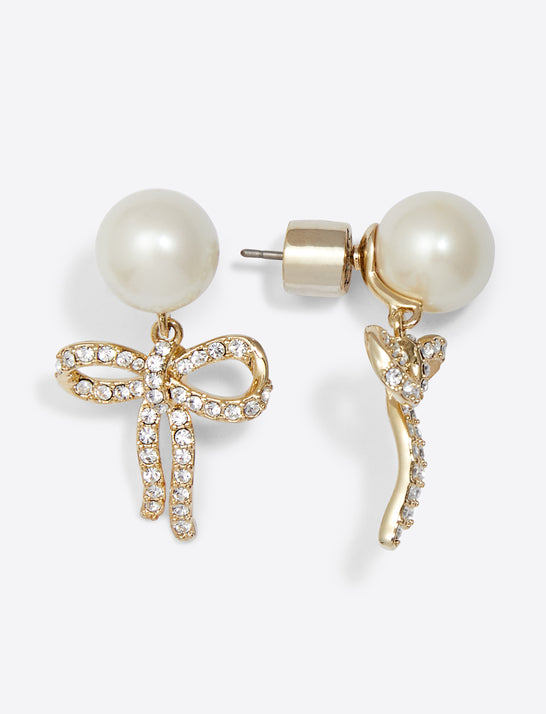 Bow and Pearl Drop Earring