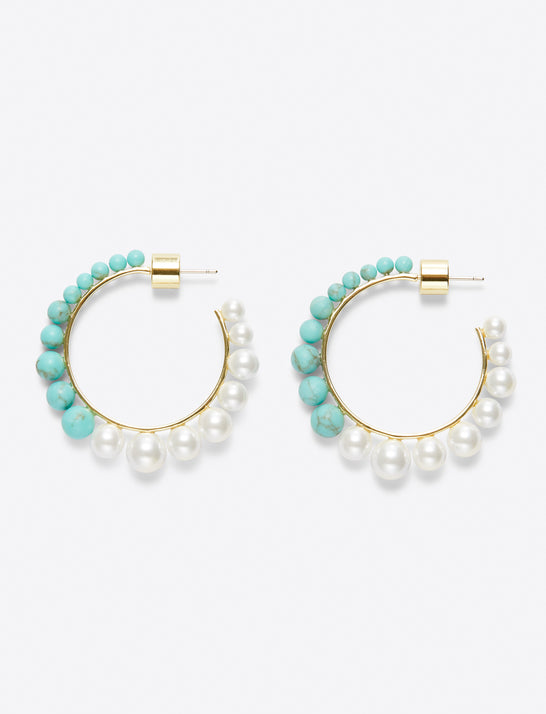 Graduated Pearl and Stone Hoop Earring