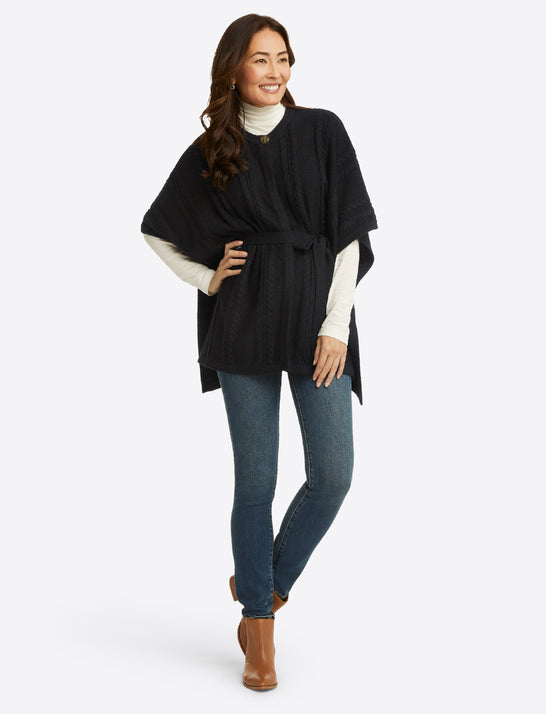 Belted Sweater Cape