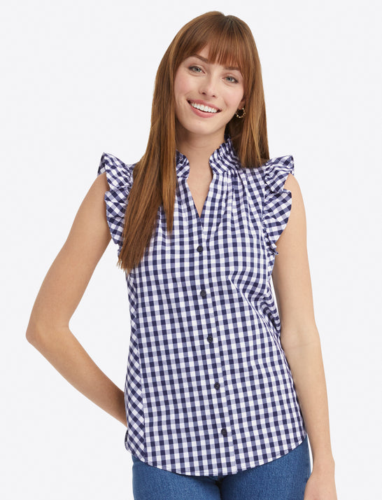 Sleeveless Button Down Top in Gingham