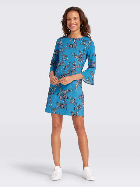 Geranium Floral Bell-Sleeve Dress