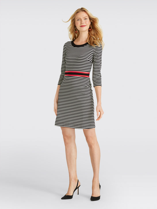 Long Sleeve Stripe Persley Ponte Dress