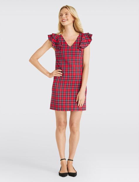f1921cfa19cfb Plaid Ruffle Shoulder Dress ...