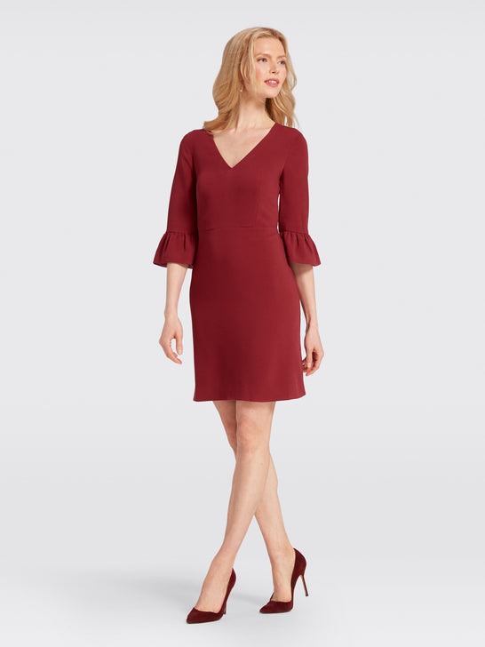 V-Neck Bell-Sleeve Dress*