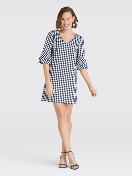 Gingham Bell Sleeve Shift Dress*
