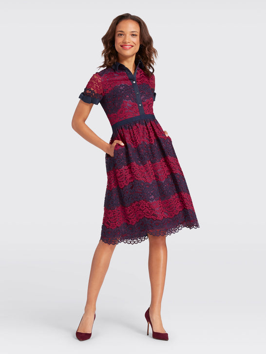 Collection Stripe Lace Shirtdress