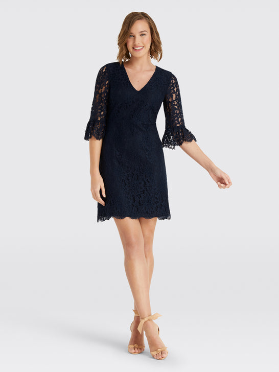 Bell-Sleeve Lace Dress*