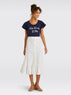 Eyelet Button Front Skirt