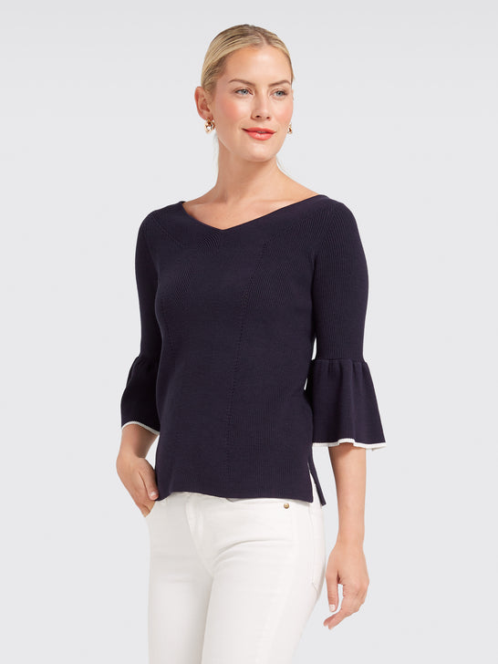 Peplum Sleeve V Sweater