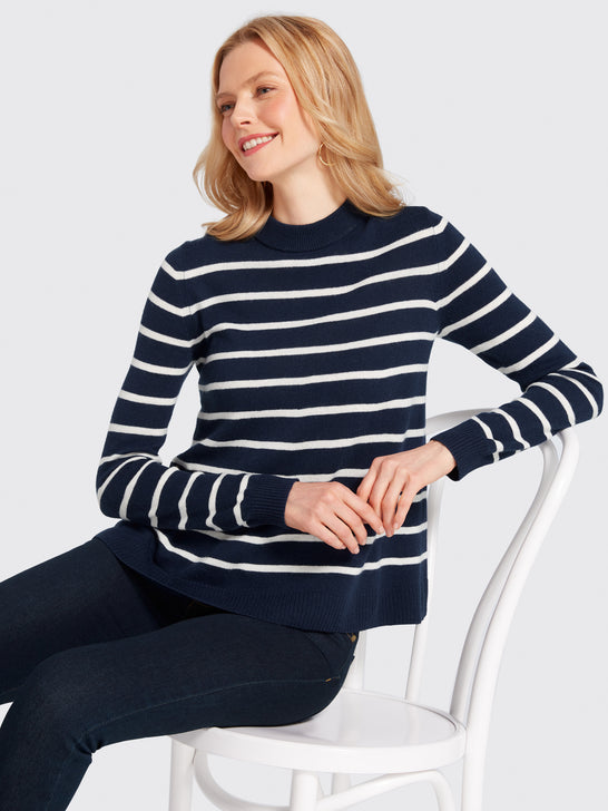 Stripe Boxy Turtleneck Sweater