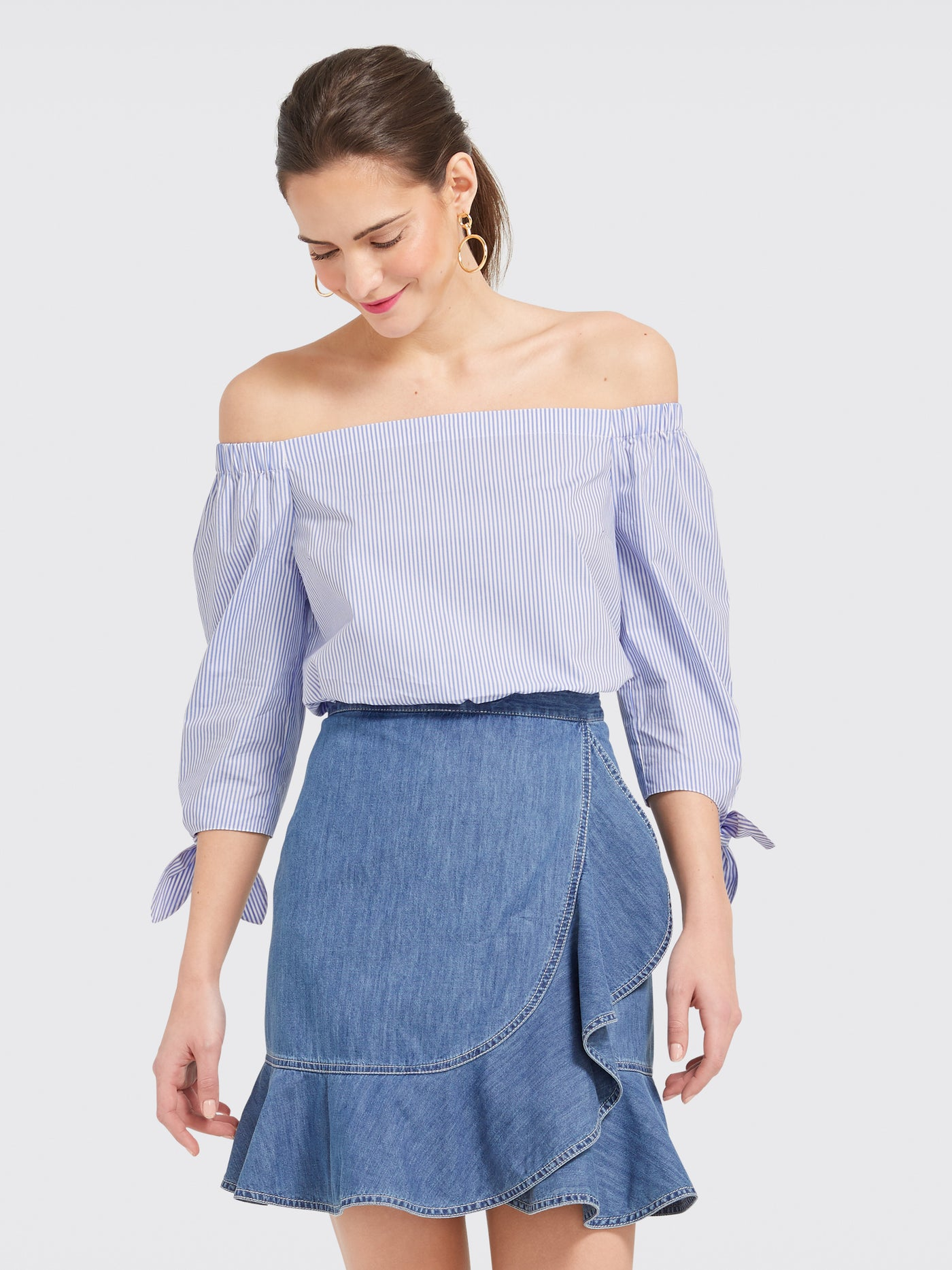 d525a6cb52022 Blue Stripe Lennox Off the Shoulder Top – Draper James