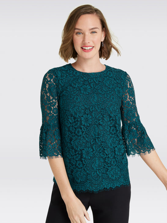 Lace Bell-Sleeve Blouse*