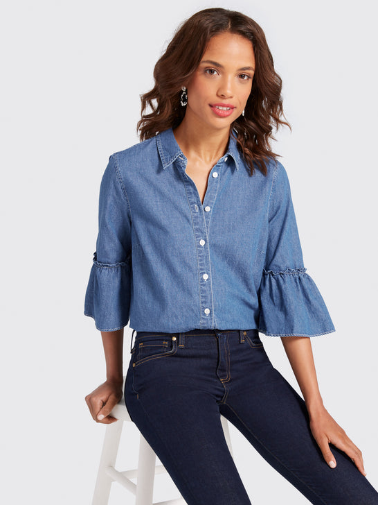 Chambray Bell-Sleeve Button Down*