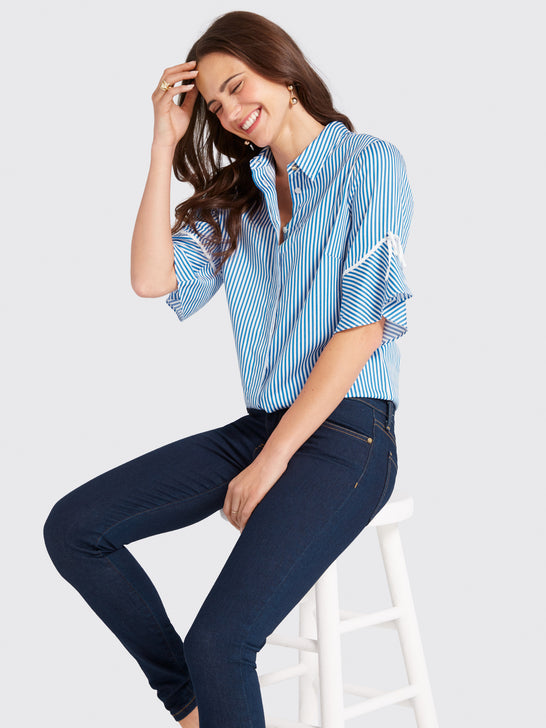 Stripe Bell-Sleeve Button Down