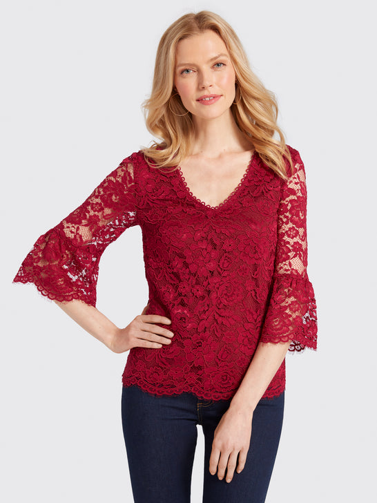 Lace V-Neck Bell-Sleeve Blouse