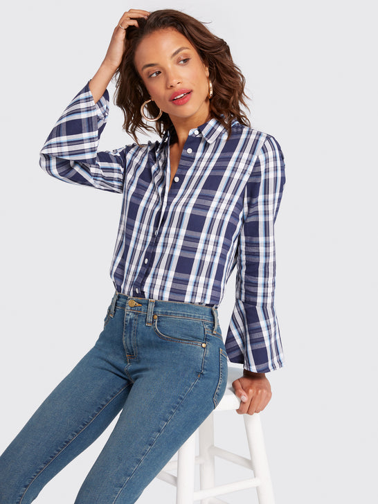 Plaid Bell-Sleeve Button Up