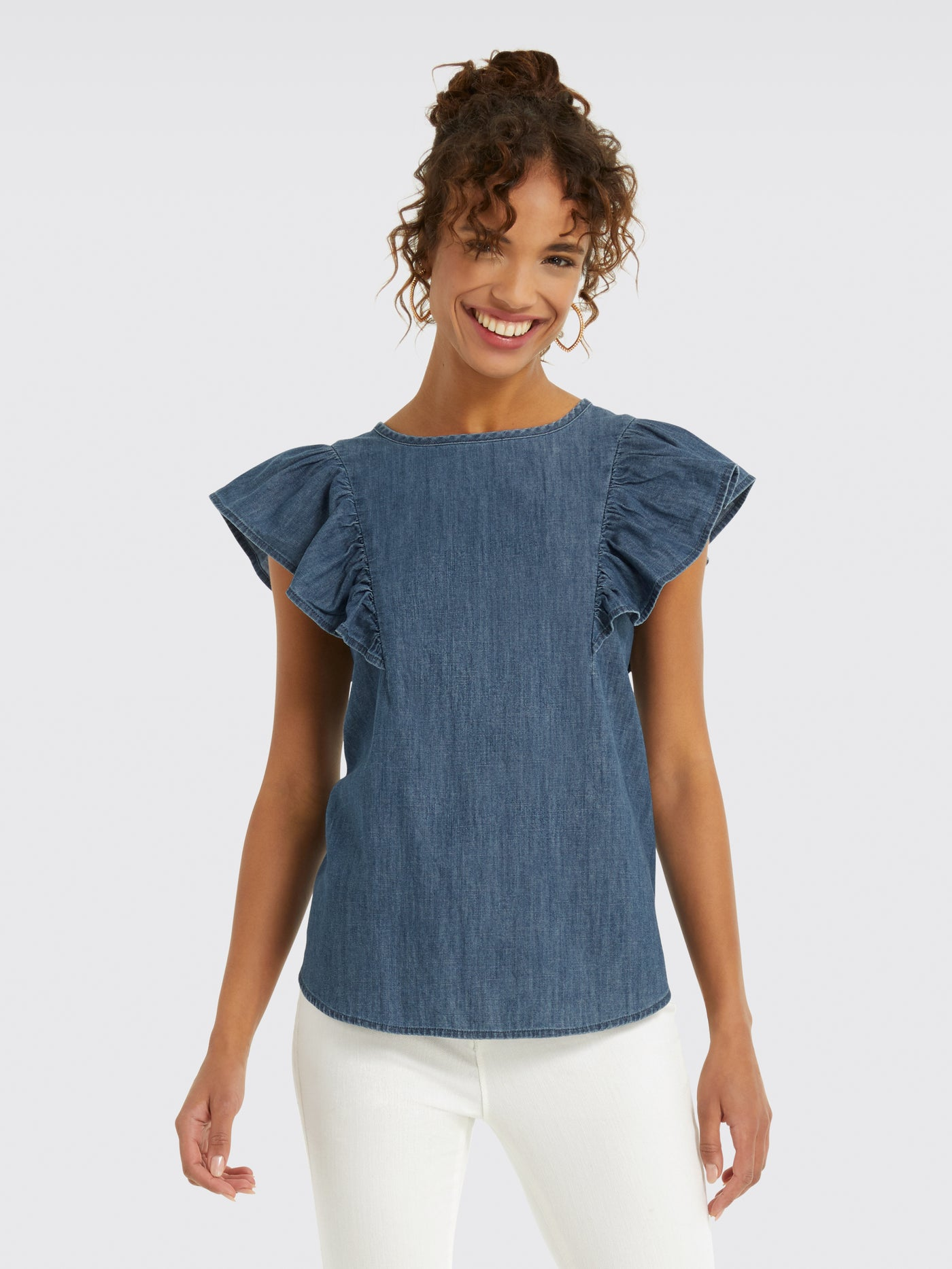 c6682e3972f5 Created with sketchtool. Hover to. Zoom. Chambray Flutter Sleeve Top