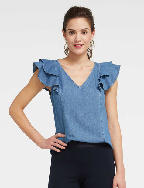 3f499952c3a Chambray Ruffle Top ...