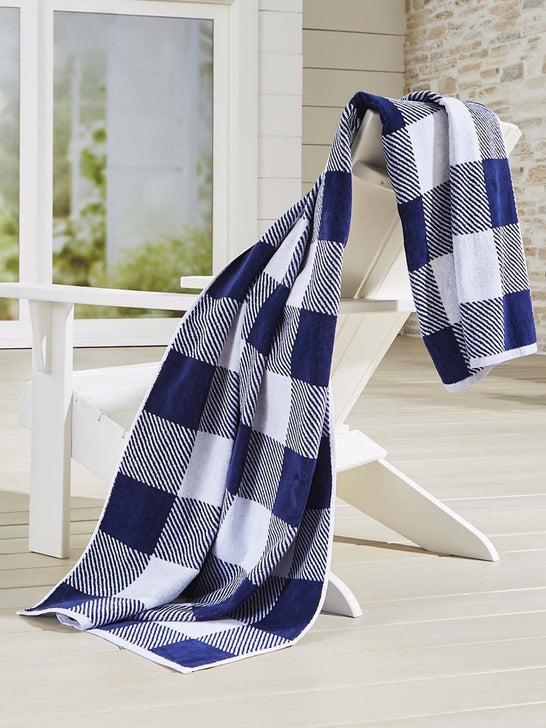 Crate and Barrel x Draper James Check Beach Towel