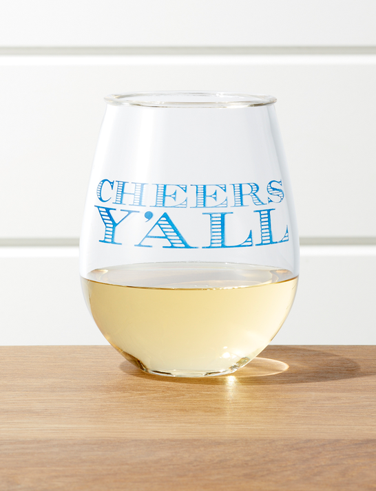 Crate and Barrel x Draper James Cheers Y'all Acrylic Wine Glass