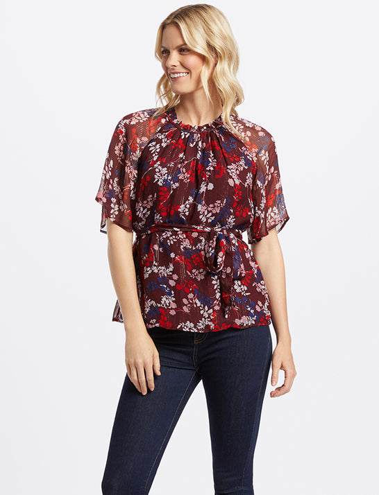 Collection Floral Belted Blouse