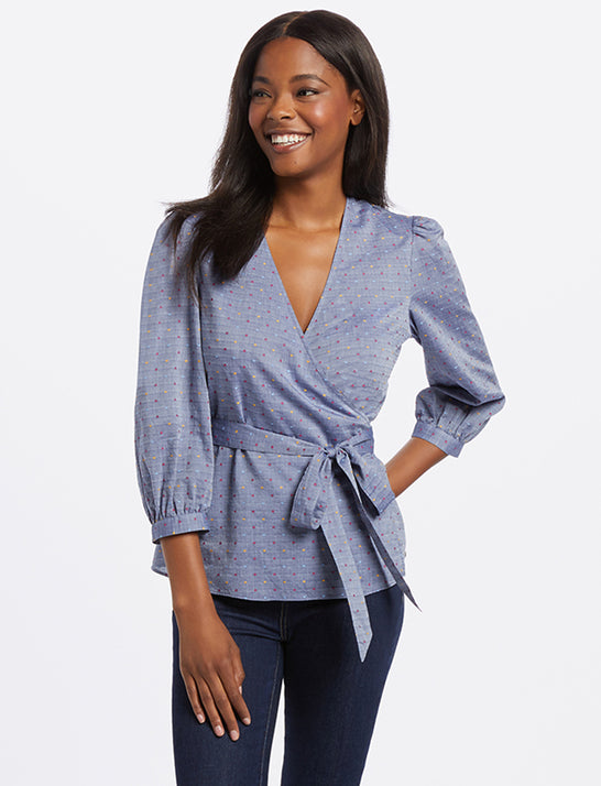 Embroidered Dot Chambray Wrap Top