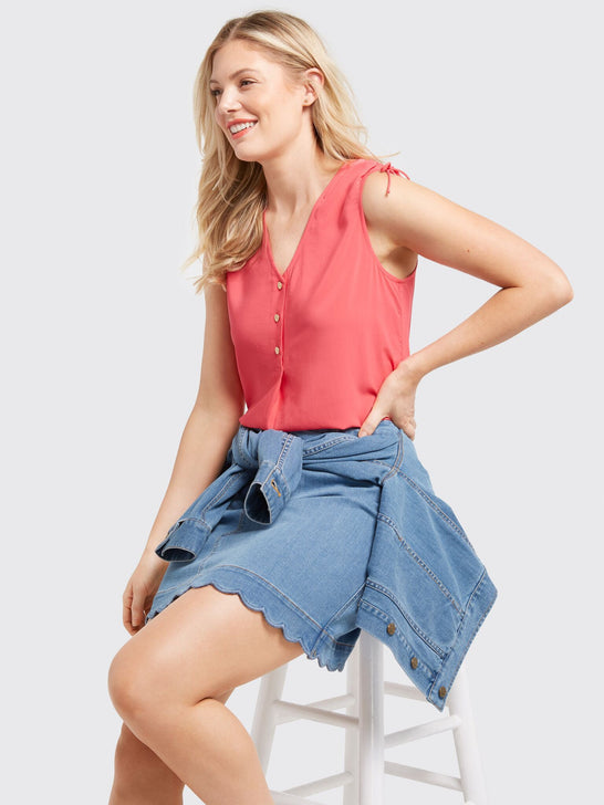 Sleeveless Tie Shoulder Blouse