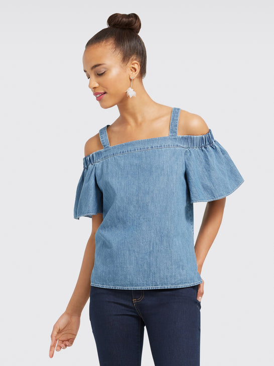 Chambray off the Shoulder Tank