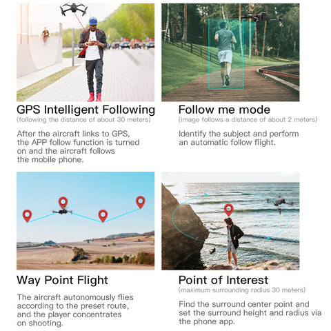 Drone X Pro LIMITLESS GPS Follow Me Mode Point of Interest